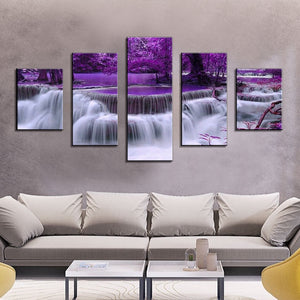 Large canvas wall art waterfall painting feng