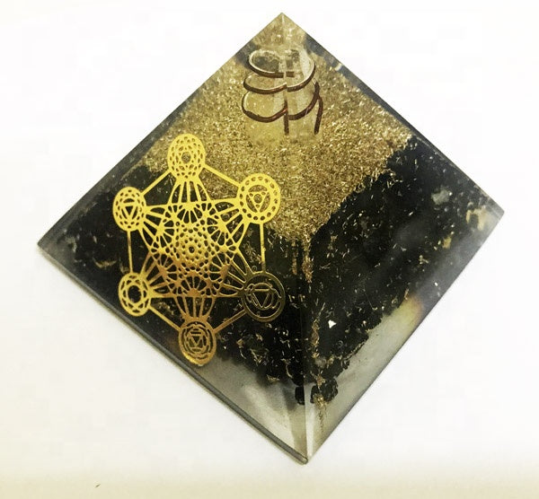 Black Tourmaline Metatron Healing Orgone Pyramid With Crystal Point