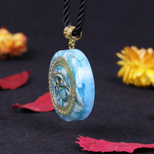 Orgone Pendant Necklace with Golden Eye of Horus
