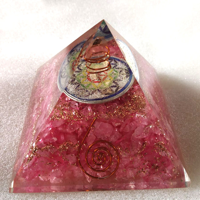 Rose Quartz Orgone Reiki Pyramid