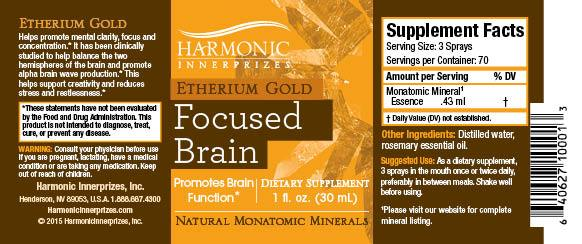 Etherium Gold,Harmonic Innerprizes, Focused Brain, 60 Vegetarian Capsules