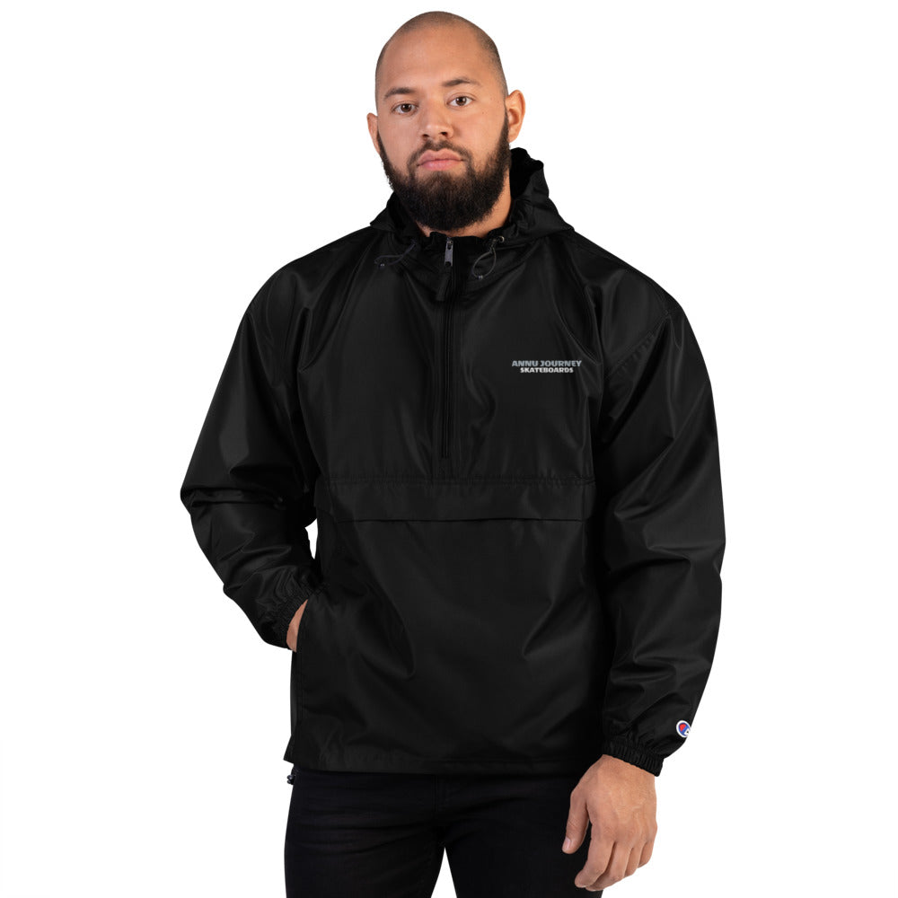 ANNU - BLACK Embroidered Champion Packable Jacket