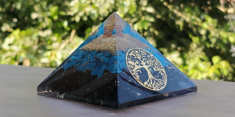 Blue Orgone Pyramid Tree of Life
