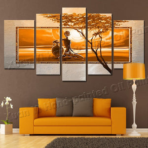 5 Panel Modern African Landscape Handpainted Oil Painting On Canvas Cuadros Unframed