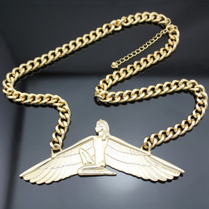 Isis Ankh Wing Chunky Choker Colar Link Chain Necklace  Women Vintage Egyptian Wicca Pagan Indina Jewelry