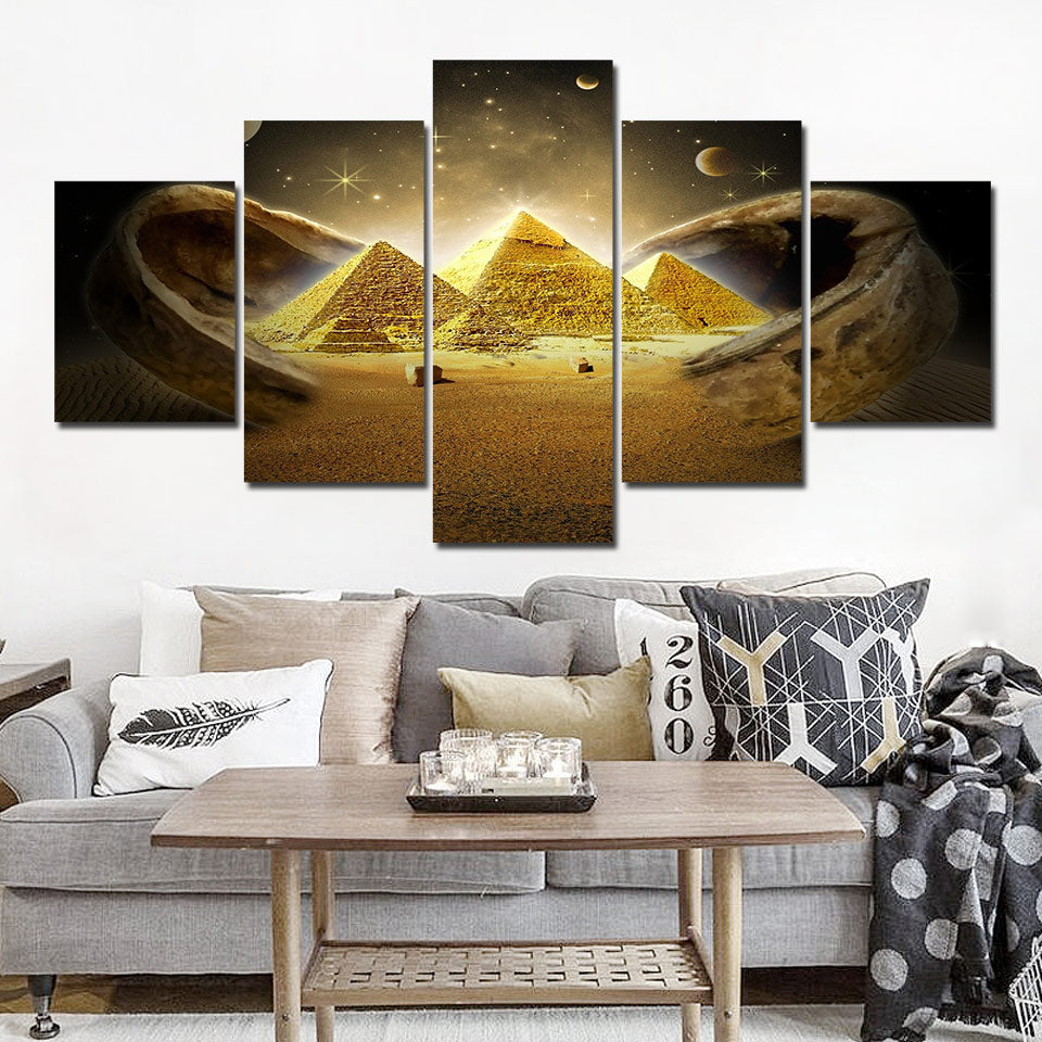 Wall Art 5 Pieces Egyptian Pyramids Prints Painting on Canvas