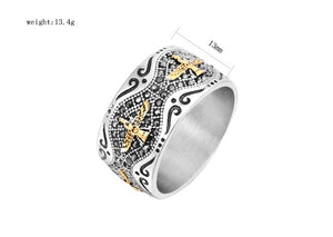 Hot Sale Zoroastrianism eagle Rings with zircon Men Rock Punk 316L stainless steel Color Golden Silver Ring Finge