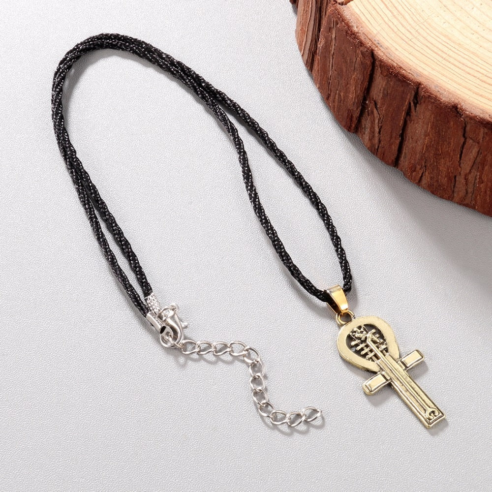 Egyptian Ankh Necklace For Women Men Anubis Amulet Pendant Old Ancient Egypt Gold Retro Goddess Corss Necklace Dropshipping