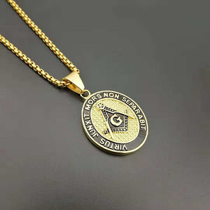 Freemason Masonic Round Pendants Necklace Gold Color 316L Stainless Steel Illuminati All Eyes Pyramid Necklaces for Men Jewelry
