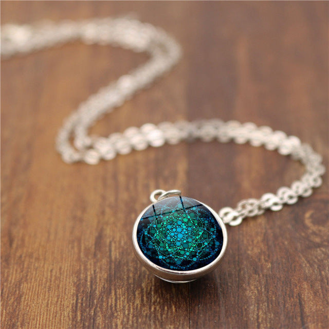 Flower of Life Double Sided Glass Ball Pendant Necklace Women Om Yoga Jewelry Sacred Geometry Glass Cabochon Necklace Chain