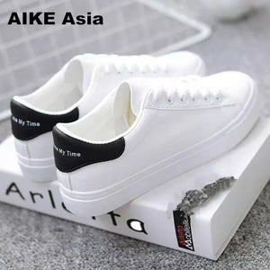 "ANNU STREET WEAR ""SK8 QUEEN"" Sneakers Shoes White Round Toe Lace-Up"