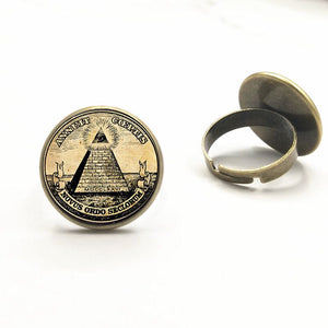Vintage Symbol Masonic Illuminati Antique Print Illustration Poster Glass ring Fashion Statement ring