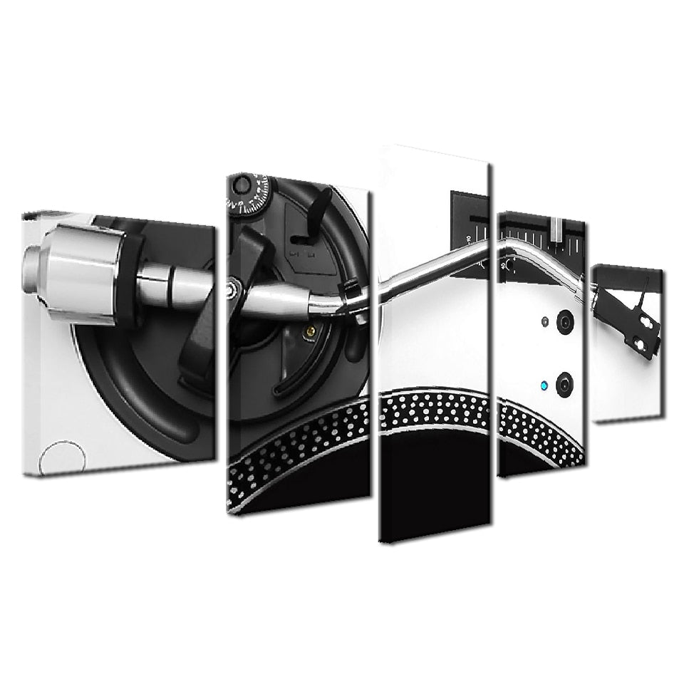 Contemporary Wall Art Paintings for Bedroom DJ Mixer Pictures Turntable Playing 5 Panel Canvas Pictures Party Decorations