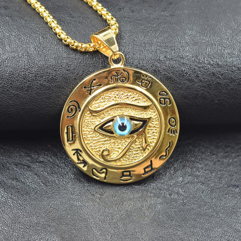 Hip hop Ancient Egypt Round Jewelry Collares Gold Color Stainless Steel Chain Egyptian Eye of Horus Necklaces & Pendants