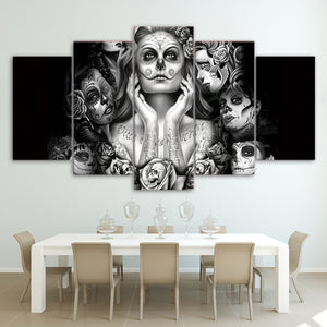 Modern Home Decor Living Room Or Bedroom 5 Panel Sugar Skull Girl Canvas Printed Abstract Painting Modular Pictures Framework