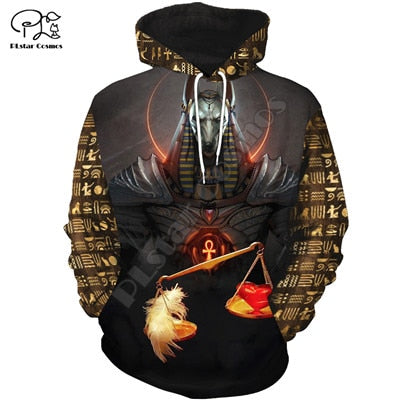 PLstar Cosmos Horus Egyptian God Eye of Egypt Pharaoh Anubis Ancient Egypt 3DPrint Zipper/Hoodies/Sweatshirt/Jacket/Men/Women 12