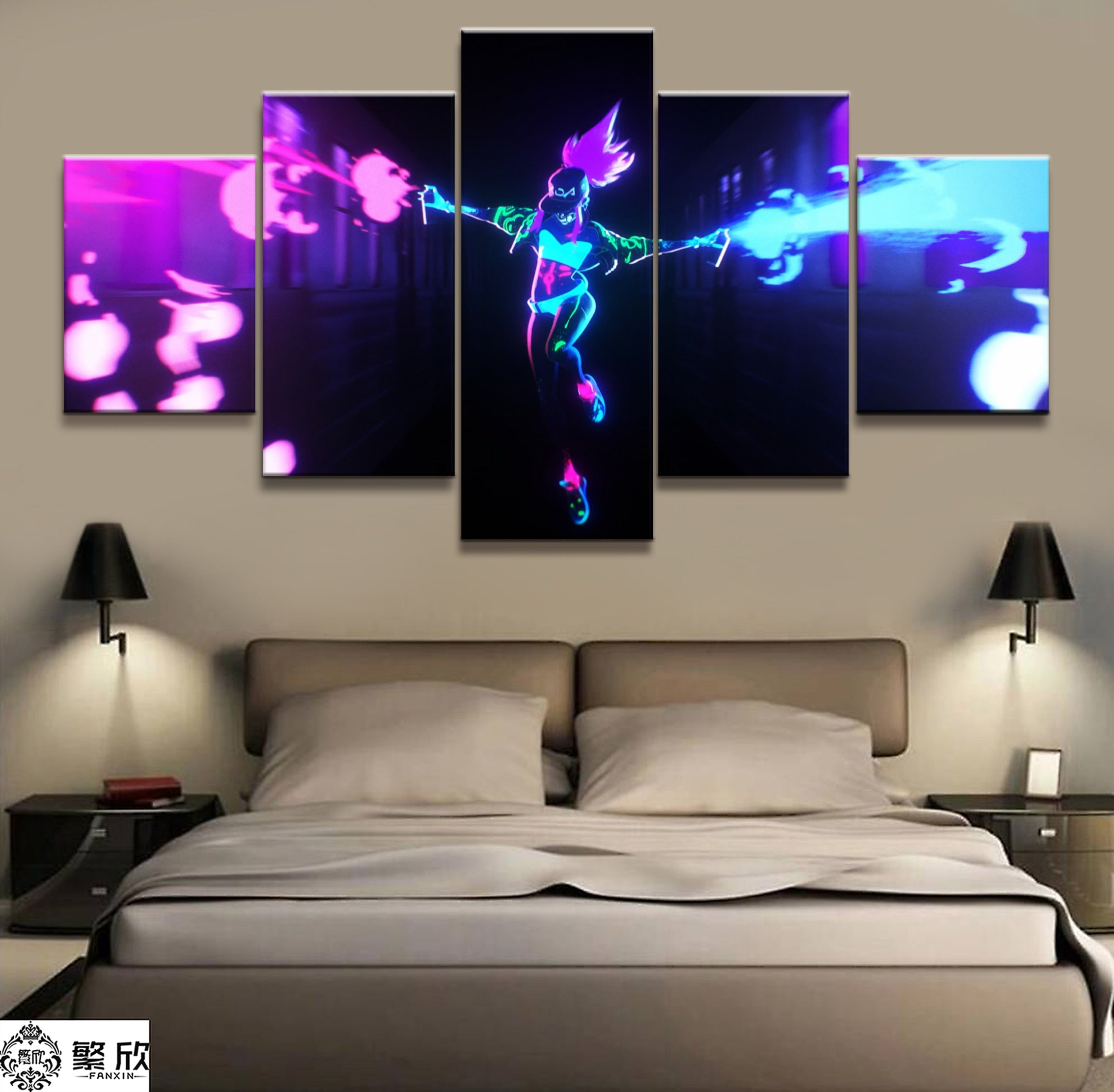 5 Panel Akali K/DA LOL League of Legends Game Canvas Printed Painting