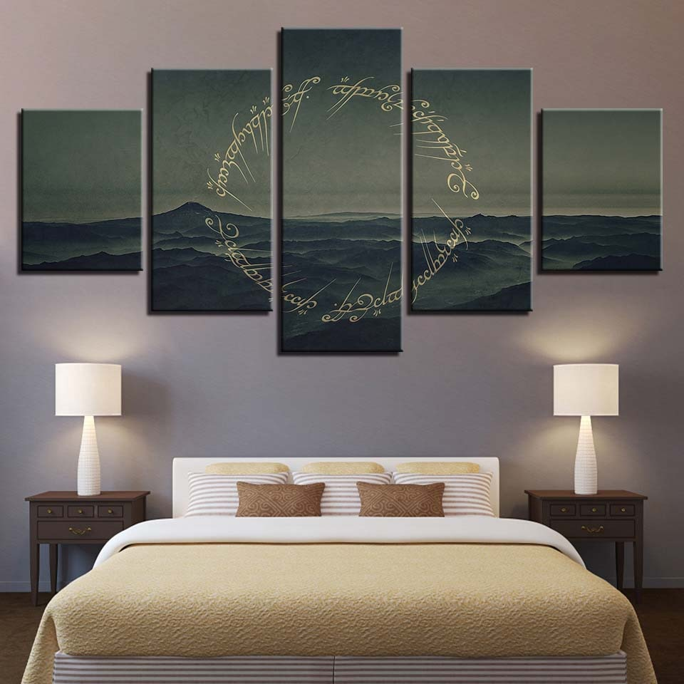 5 Panel Movie Lord Of The Rings HD Printed Abstract Poster Painting