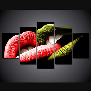5 Panels Canvas Artwork Sexy Lips Print Wall Painting