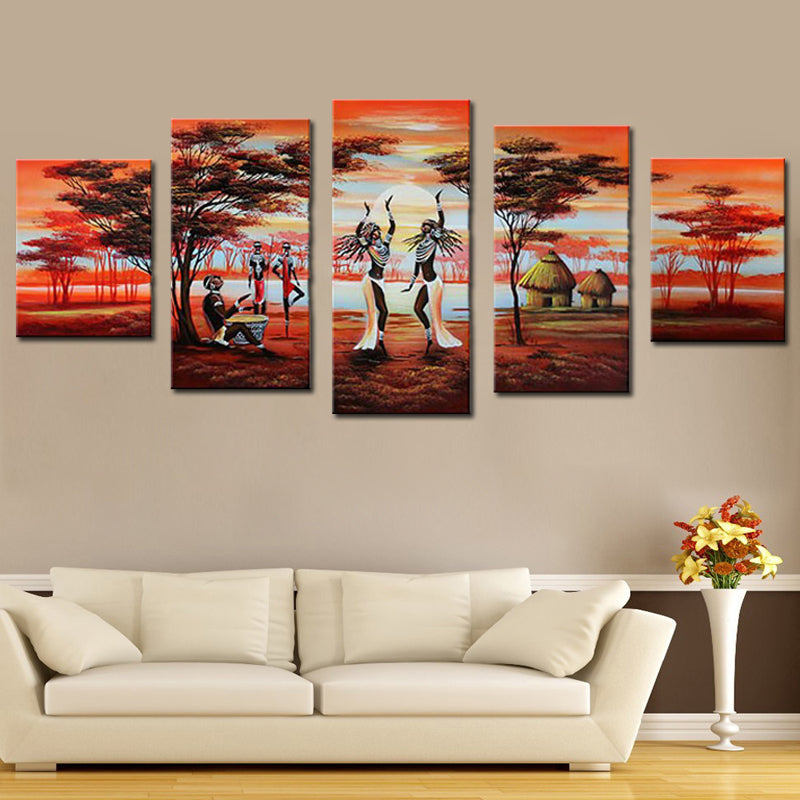 Modern 5 Panel Group Oil Paintings African Dancing Hand Painted Landscape Canvas Painting Unframed