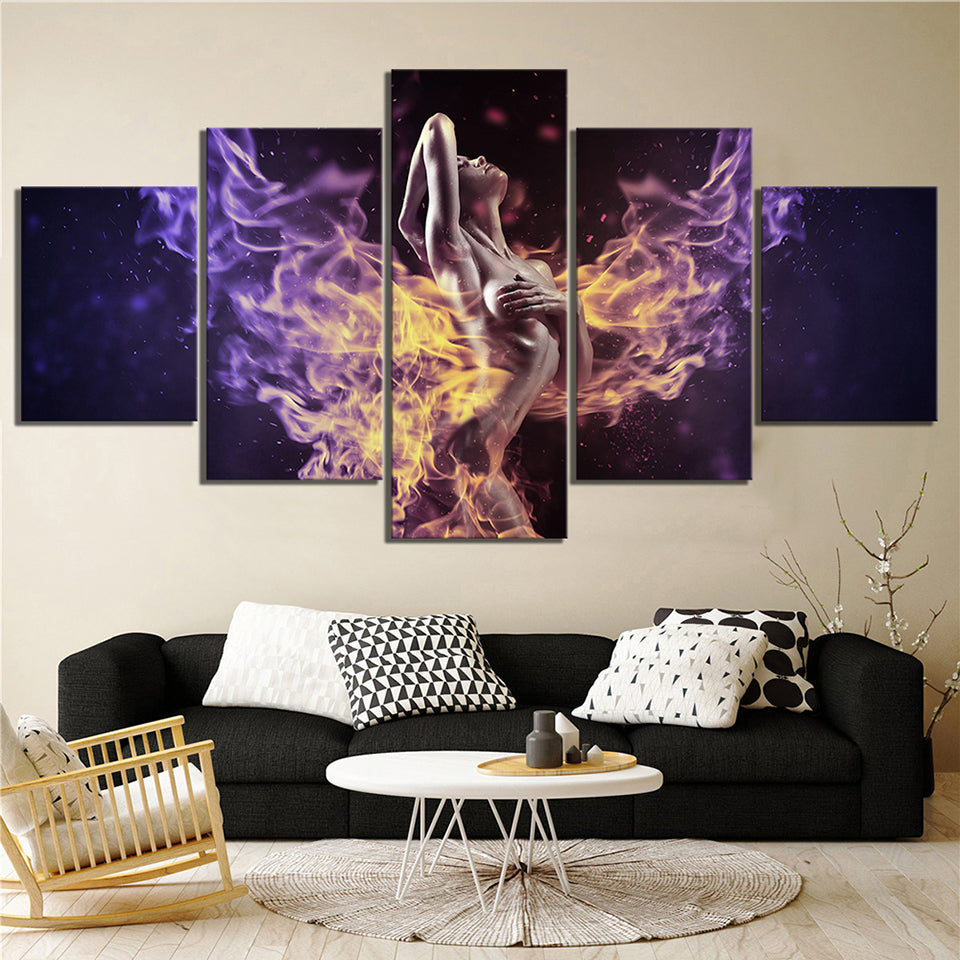 5 Panel Sexy Girl Pictures Canvas HD Print Painting