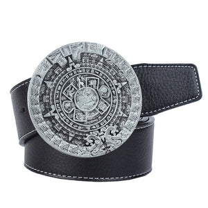 Ancient Aliens Mayan Solar Calendar Men's Jeans Leather Belt Buckle