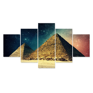 5 Panels Egyptian Pyramids Scenery Painting