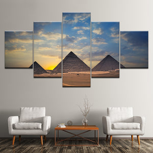 Canvas Painting Egyptian pyramids and sunset 5 Pieces Wall Art Painting
