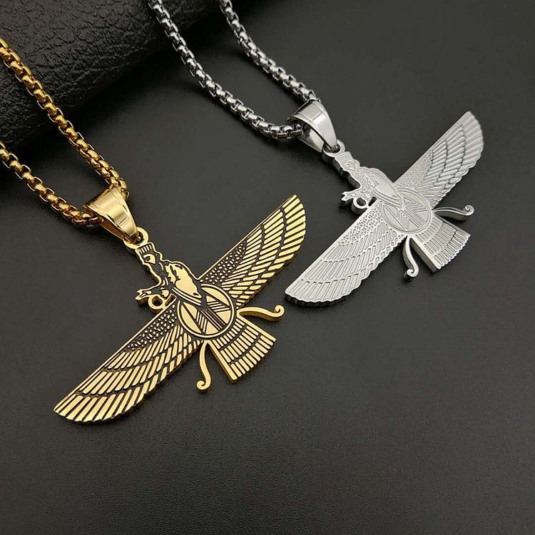 Ahura Mazda Pendant Necklaces Stainless Steel Male Vintage Zoroastrianism Necklace Hiphop Jewelry