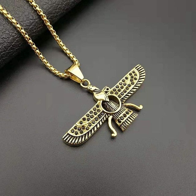 Gold color Ahura Mazda Farvahar Zoroastrian Persian stainless steel pendant necklace