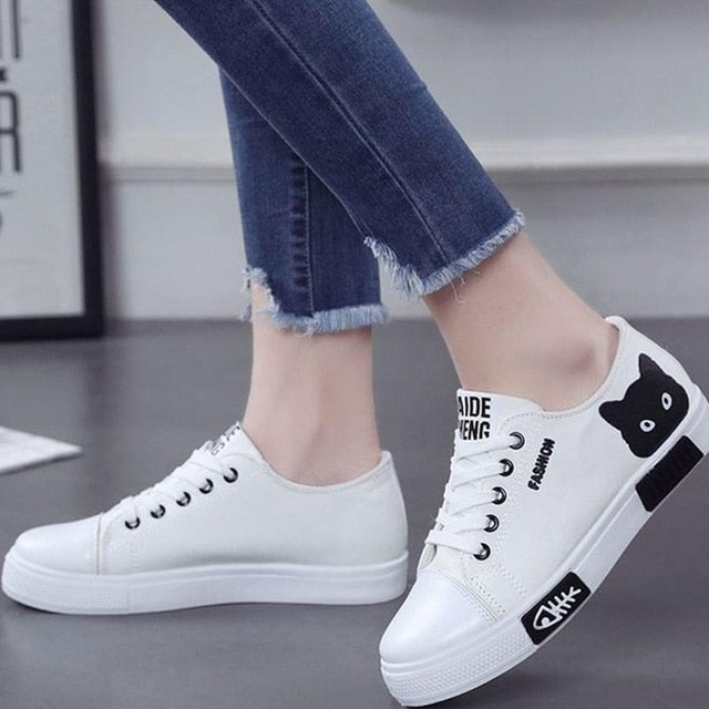"ANNU STREET WEAR ""STUDENT BOARD"" Women Flat Cartoon Canvas Shoes White"