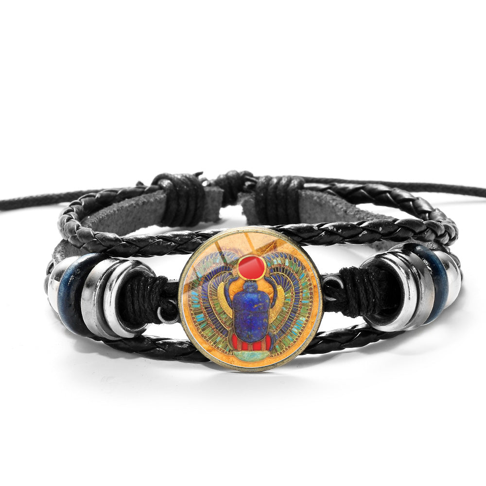 SONGDA Egyptian Ankh Cross Scarab Bracelet Ancient Egypt Beetle Symbol of Strength Woven Leather Wristband Unisex Amulet Jewelry