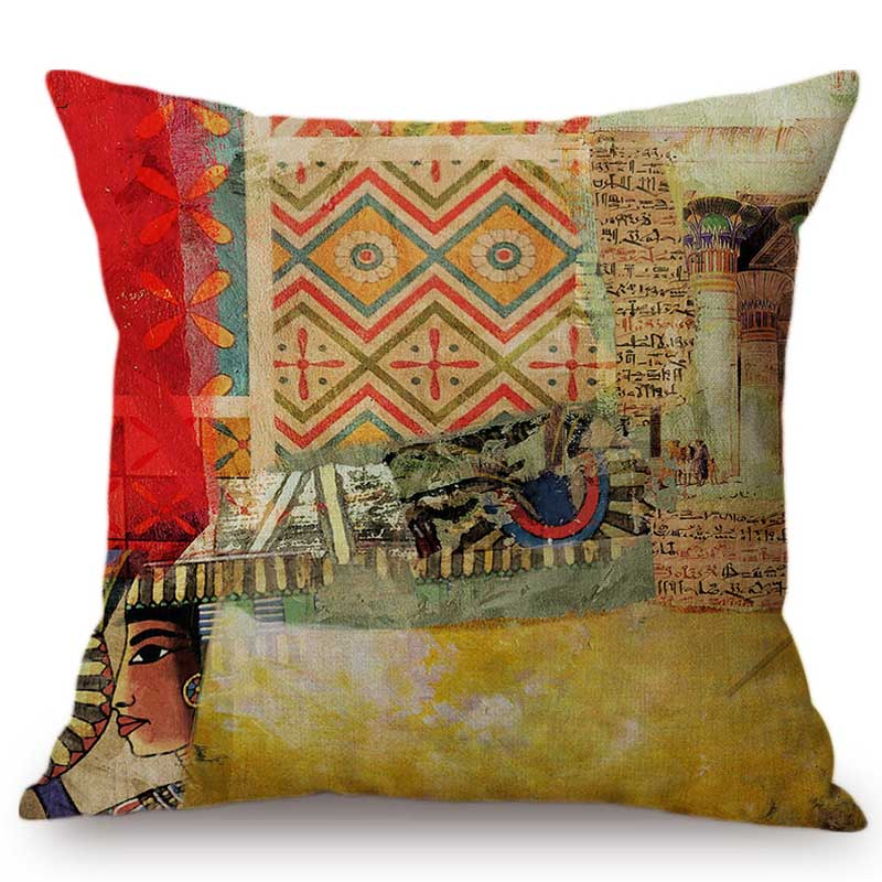 Cleopatra Pyramid  Hieroglyphic Oil Painting Throw Pillow