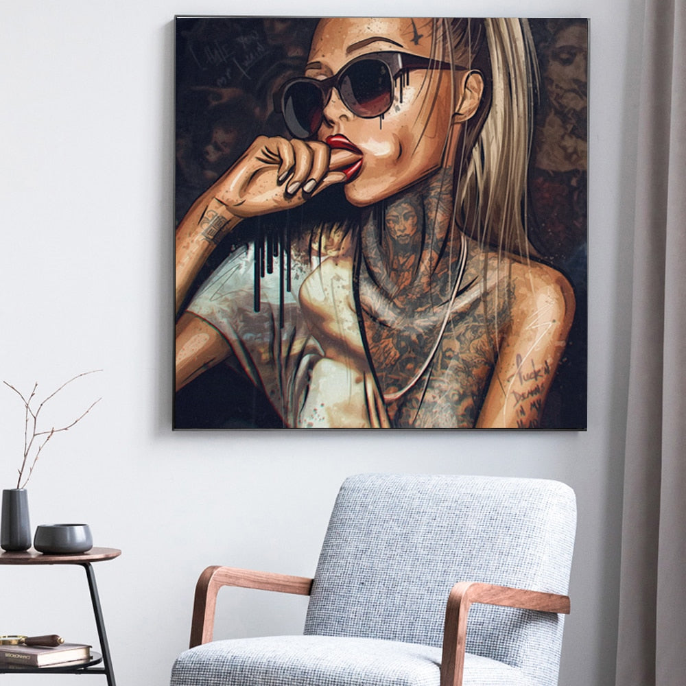 Canvas Painting Wall picture Prints On New Graffiti Street Wall Art Abstract Modern African Women Portrait Decor For Living Room