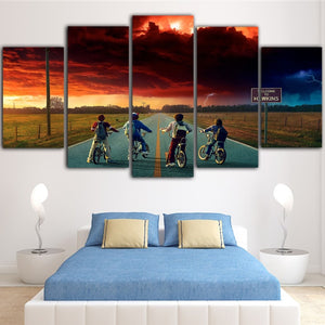 Stranger Things Wall Painting 5 Piece  Picture Movie Posters Canvas Art For Living Room Home Decoration Tableau Prints Poster