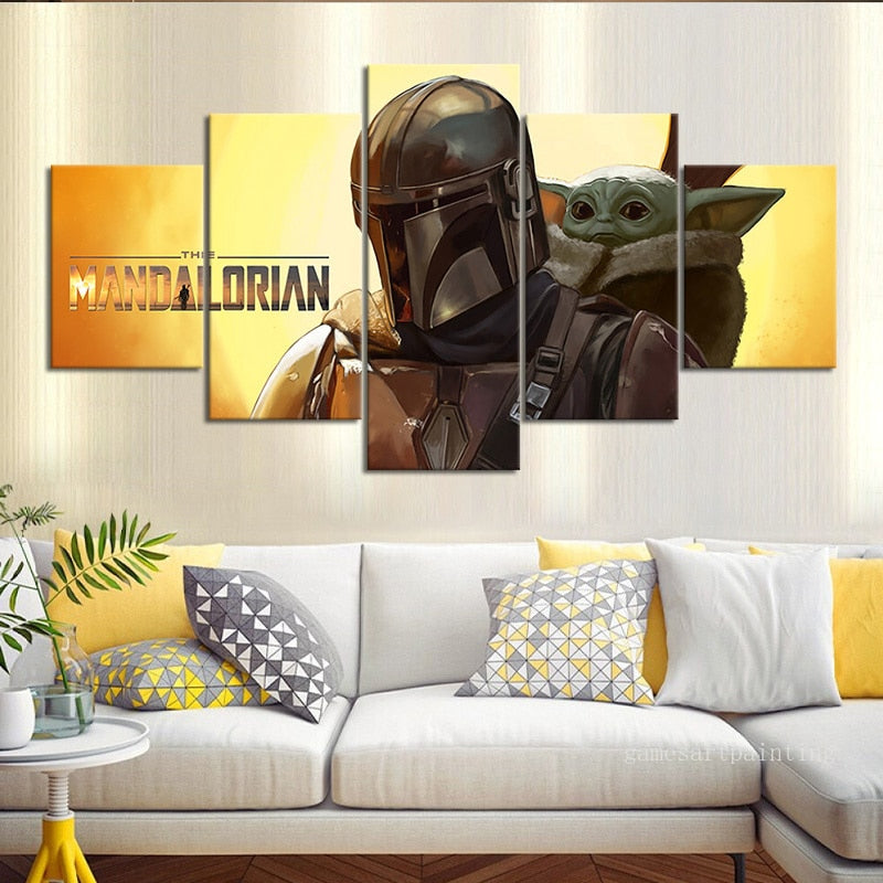 5 Piece Star Wars The Mandalorian Baby Yoda Wall Picture for Home and Living Room