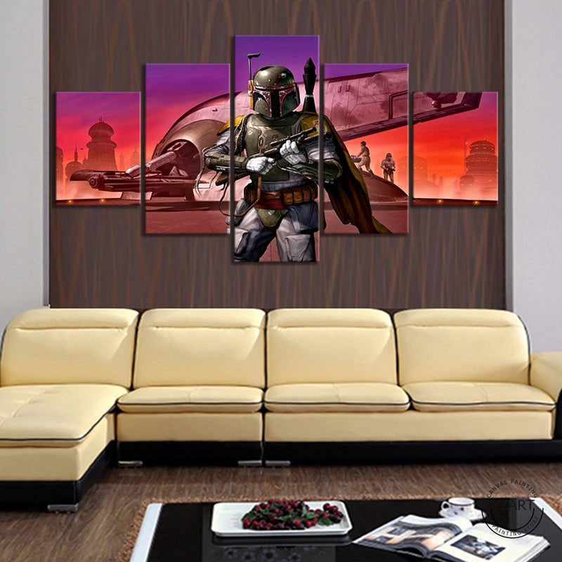 Mandalorian Baby Yoda Slave Star Wars Boba Fett Canvas Painting cheap painting