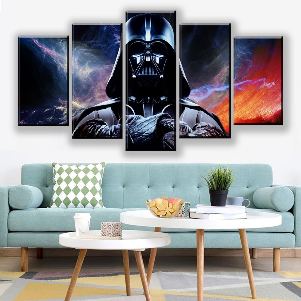 Star Wars Movie Painting Darth Vader Canvas Poster 5 Pieces