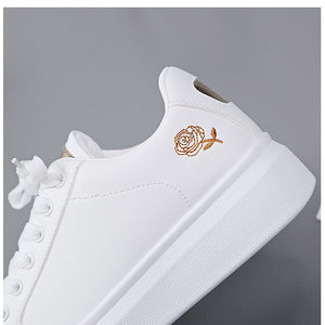 SMOOTH SK8 White Sneakers Breathable Flower Lace-Up Women Sneakers