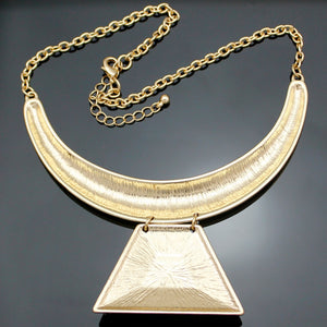 AZTEC Gold Egyptian Queen Cleopatra Pharaoh Illuminati Pyramid Bib Maxi Statement Pendant Necklace Choker Colar Necklace