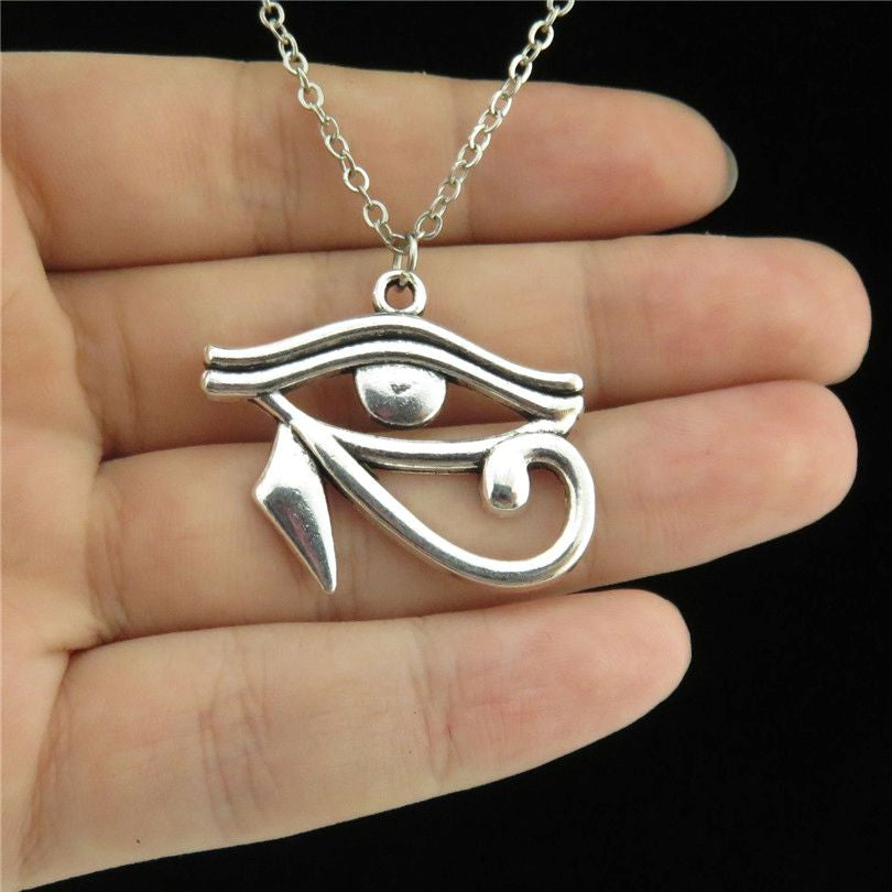 GLOWCAT Q16A78 Silver Alloy Women Girls Horus Ra Amulet Egyptian Eye Pendant Short Chain Necklace 18""