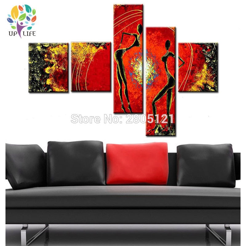 hand made 5 panel wall art red Abstract african tribal nude dancer Bonfire party Oil Painting