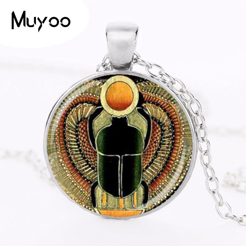 SCARAB SETS Glass Dome Pendant Necklace Sets Ancient Egypt Jewelry