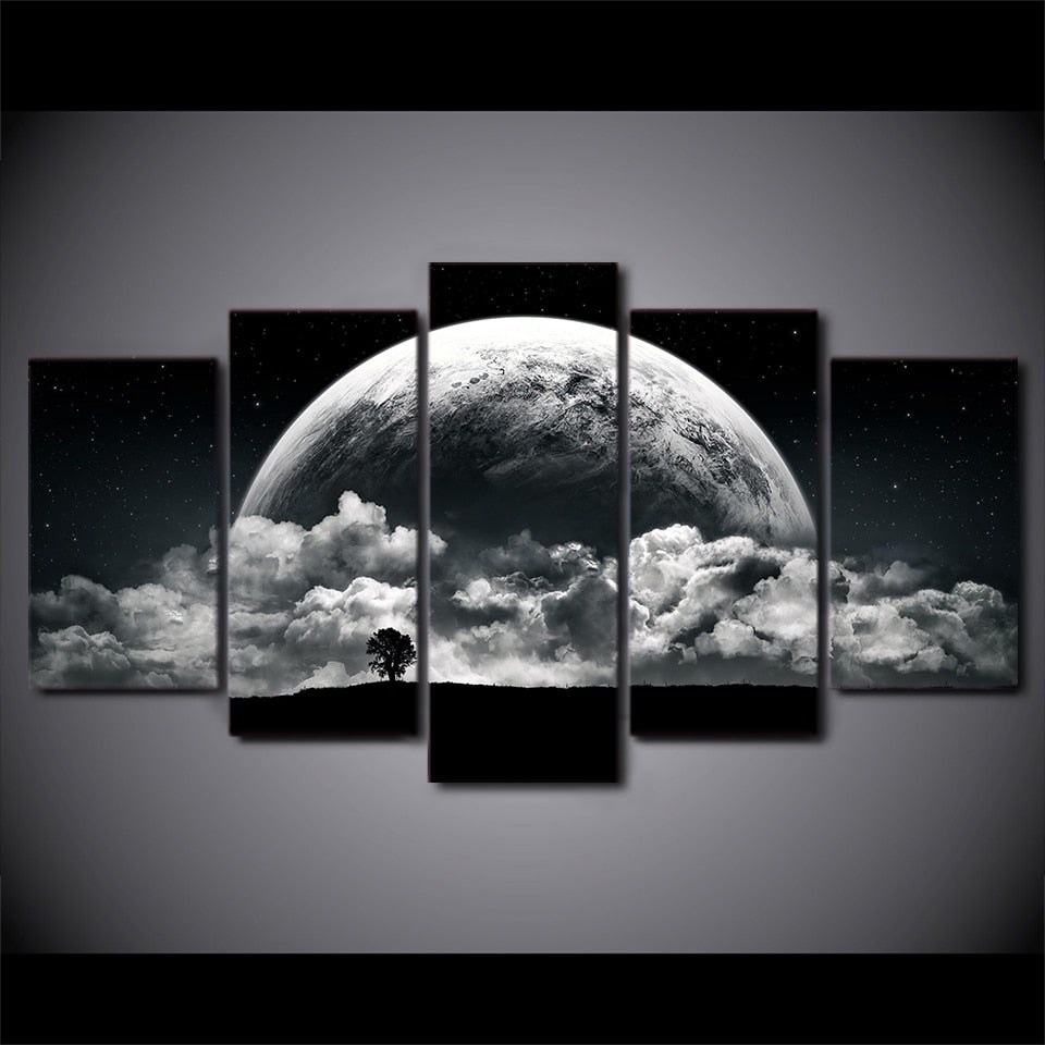 5 Panel Planet Landscape Printed Painting