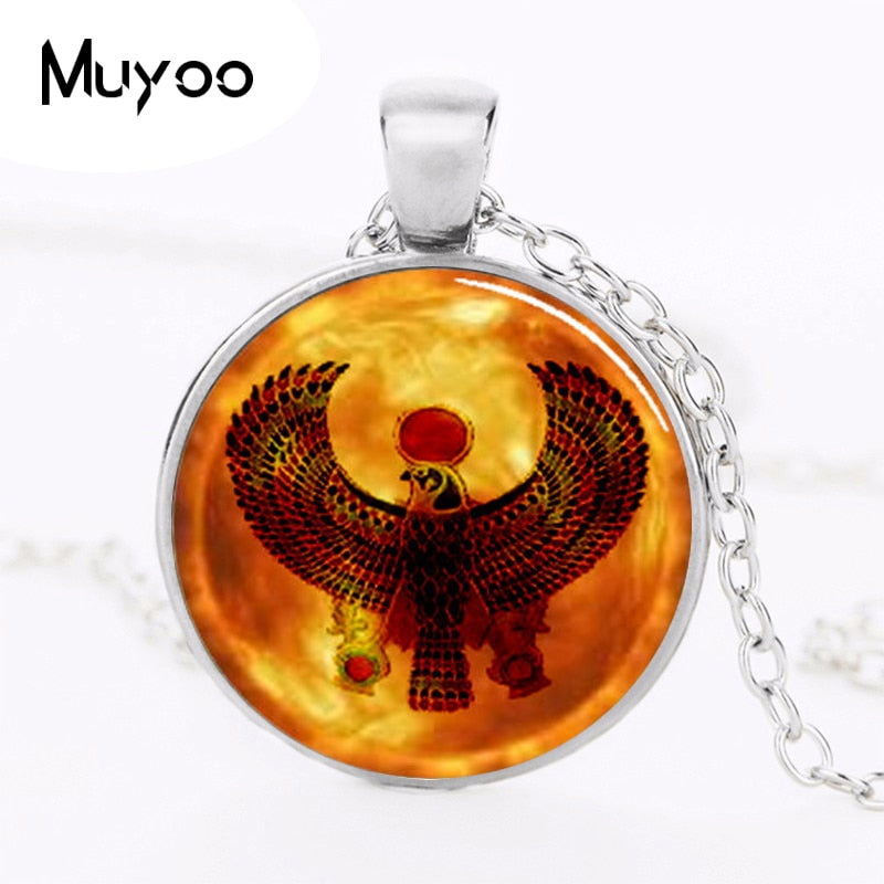 2020 New Egypt Horus Round Egyptian Pendant Jewelry Glass Dome Pendant Necklace