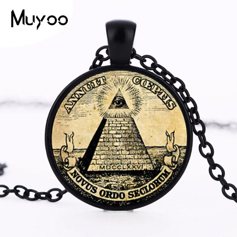 Vintage Symbol Masonic Illuminati Antique Print Illustration Poster Glass Pendant Necklace Fashion Statement Choker Necklace HZ1