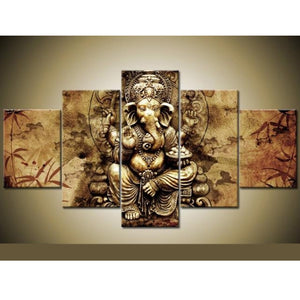 5 Panel Ganesha Red Maple Tree Living Room Wall Modular Pictures Painting