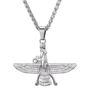 faravahar necklace with chain Gold color Stainless Steel Iranian Pesian Zoroastrian Jewelry black necklaces  P4G