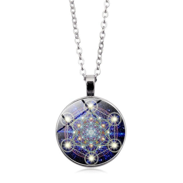 Metatron Cube Pendant Necklace Sacred Geometry Flower of Life Jewelry Chakra Spiritual Necklace Women Magic Hexagram Choker