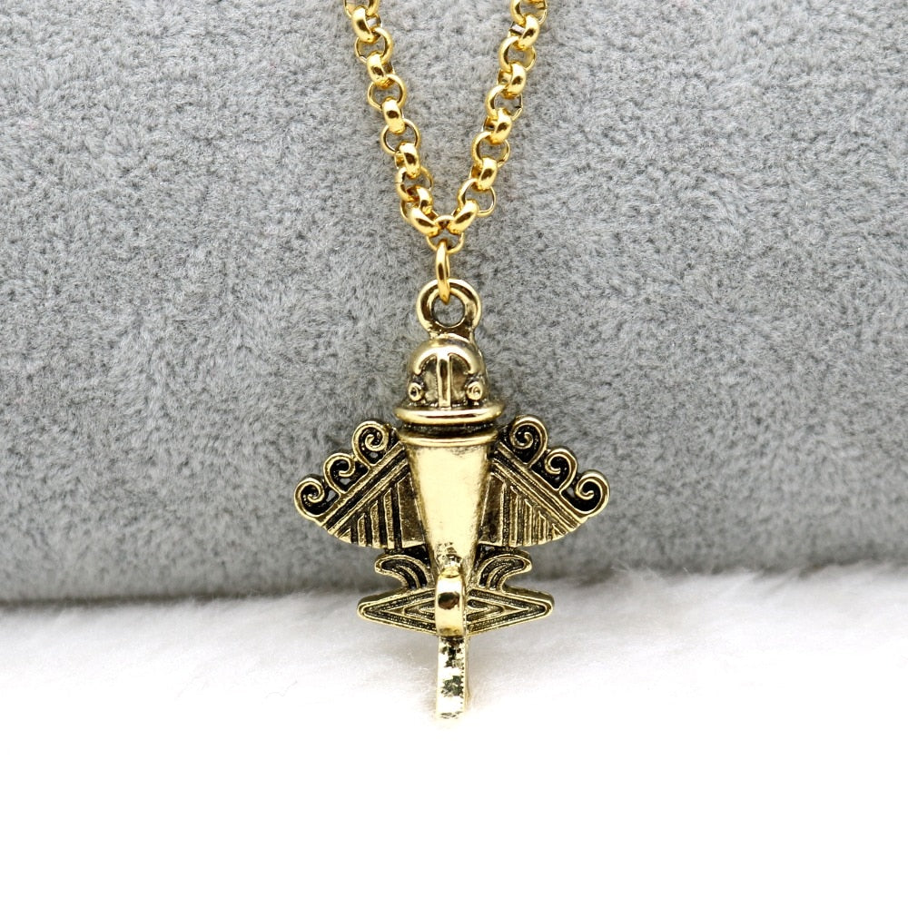 Ancient Aliens Aircraft Flyer Jet-9 Pendant Necklace Gold Stainless Steel Chain